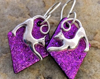 Pink CAT Dichroic Glass Earrings - Sterling Silver Hooks