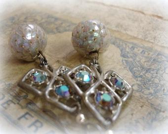 spades limited edition vintage assemblage earrings vintage pot metal spades set with vintage swarovski starlight rhinestones + 1940s sequins