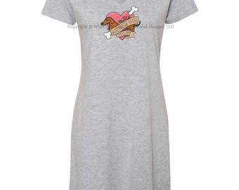 Dachshund Sleep Shirt Wiener Dog Mom Tattoo Size L/XL
