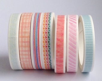 modern masking washi tape set of 7 ++ thin ++ craft diy  ++ korean stationary ++  party supplies ++ polka dot trangles stripes + scrapbookin