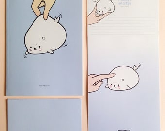 cute stationary letter + envelope set + notebook ++  entire character set of 3  ++ unique Korean stationary ++ baby animal seal