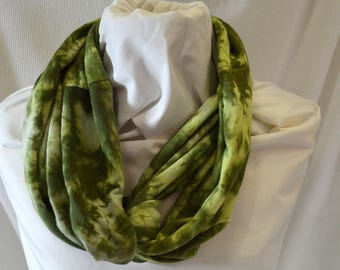 Hand Dyed Hemp Knit Infinity Scarf - Intense Colors that will Express Your Creativity, Soft Knit Fabric, Olive and Kiwi