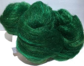 "Green Felting wool Firestar batt, ""Sparkly Pine"", spinning fiber roving, pine, evergreen,  green, forest, Christmas green, holiday decor"
