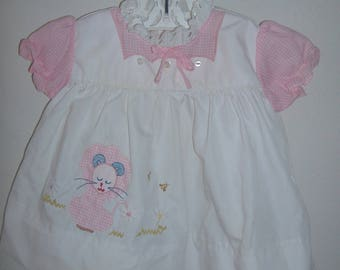 White and Pink Gingham Baby Girl Dress, Size 6-9 Months