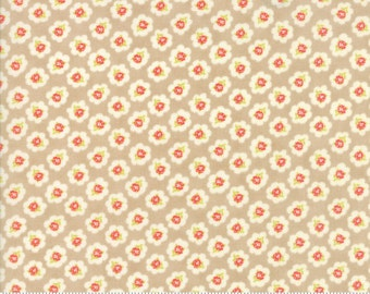 Coney Island - Cotton Blossoms in Boardwalk Tan: sku 20281-18 cotton quilting fabric by Fig Tree and Co. for Moda Fabrics - 1 yard