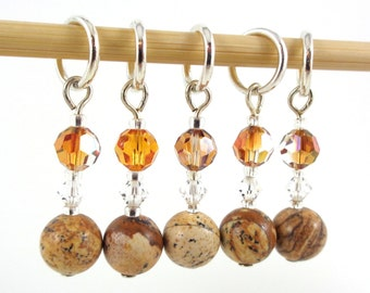 Healing Gemstone Stitch Marker Set - Picture Jasper - Customizable for Knitting or Crochet