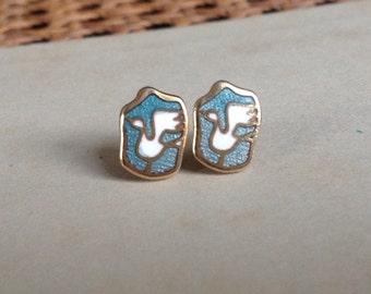 Vintage de Passille-Sylvestre Enamel Earrings Canadian Modernist