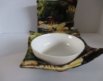 Bowl cozy, microwave bowl cozy, horse and rider, dog, cattle, roundup, kitchen, microwave hot pad, microwave safe, bowl holder, hot pad,