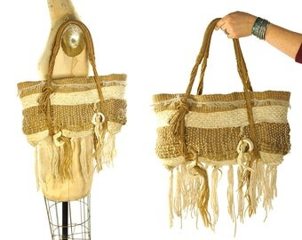 70s Fringed Tapestry Bag / Vintage 1970s Handwoven Art to Wear Purse / Hippie Boho Ethnic Folk Bohemian One of a Kind Macrame Tote