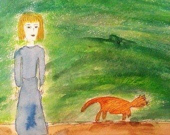 """Adorable original painting, """"Irish Summer Walk"""", acrylic on art paper, a little red haired girl walking in the hills with her cat, 9"""" x 12"""""""