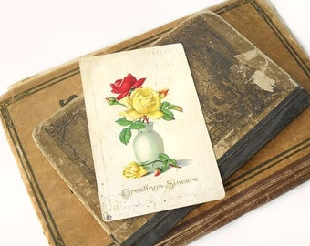 Antique Postcard, Greetings Sincere, Embossed Flowers, 1918 Paper Ephemera, Collectible Post Card