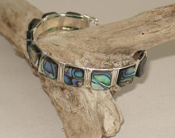 Sterling & Mother-of-Pearl Wire-Wrapped Cuff Bracelet