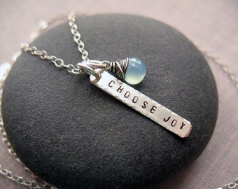 Choose Joy Necklace, Charm Necklace, Stamped Charm, Bar Necklace, Word Necklace, Brenda McGowan, Sterling Silver, Chalcedony Necklace, Joy