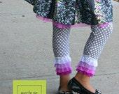 ON SALE SALE Girls Ruffle Leggings Holiday Leggings Christmas Leggings Winter Leggings Toddler Leggings - Ready to Ship