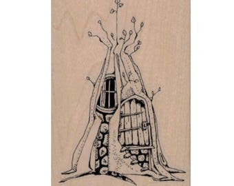 rubber stamp fairy door  tree house hobbit gnome  steampunk zentangle  art stamps original design by Mary Vogel Lozinak no19916