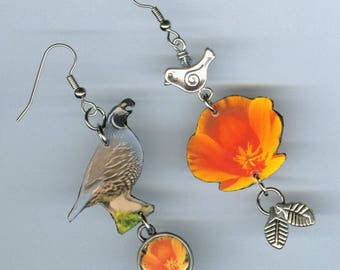 State Bird Flower Earrings - California Poppy Quail - Asymmetrical mismatched jewelry - botany bird lover watcher botanist gift