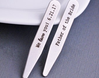Father of the Bride Gift, Personalized Collar Stays, Engraved Gift for Wedding Party, Stainless Steel Collar Stays