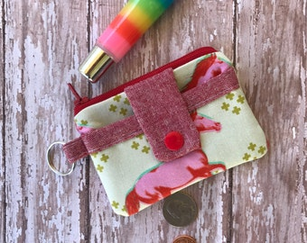 Horse Coin Purse Small Zipper Wallet Fabric Key chain  Horse Lover Womens Wallet Gift Under 10 Key chain Wallet Gift for her