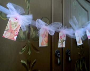 Easter banner, Easter garland, Vintage Easter garland, Easter bunting, pretty spring tags with tulle, Easter decoration