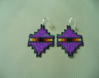 Native American Style Square Stitched Hemitite and Purple earrings