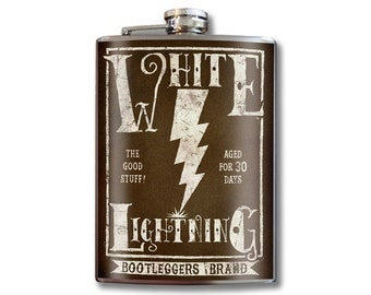 White Lightning - 8oz Stainless Steel Flask - comes in a GIFT BOX -  by Trixie & Milo
