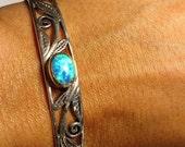 Estate Sterling Silver Blue Opal Stone Ornate Cuff Bracelet Vintage Stamped 925