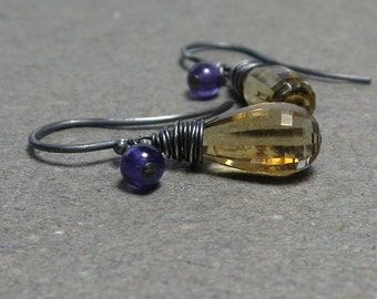 Citrine, Amethyst Earrings November, February Birthstone Oxidized Sterling Silver Earrings Gift for Her