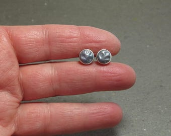 Stud Earrings 8 mm Blue Gray Abstract Design Hypo Allergenic Simple Post Earrings Gift for Girlfriend Steel Blue