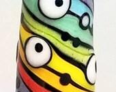 Wurvy Curvy Rainbow Skinny Mini Cone--Handmade Lampwork Bead