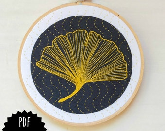 GINKGO - pdf embroidery pattern, embroidery hoop art, ginkgo biloba leaf, golden leaf on black design, sashiko waves, fall decor, wall art