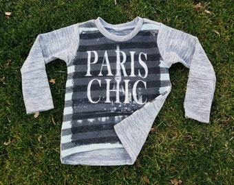 Handmade Toddler Girl PARIS recycled shirt!  Upcycled high low top!  Size 3/4/5!