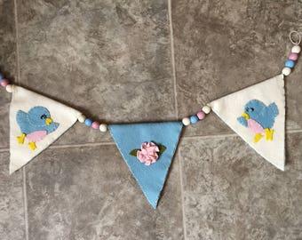 Adorable Handmade Wool Felt Bluebird Bunting or Swag sweet