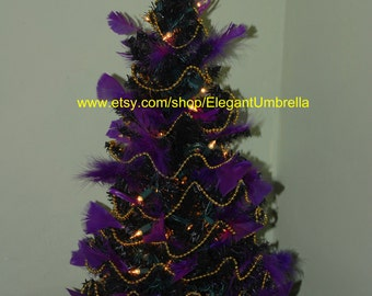 Purple/Gold Black Pre-lit Tabletop Christmas Tree Design 18