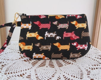 Clutch Wristlet Zipper Gadget Pouch Small Camera Bag Doxies on Parade