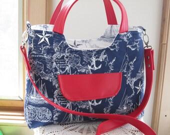 Nautical Navy Blue Sailing FAUX leather purse, Bagstock Rose handbag Handmade Handbags Mother's Day Gift Spring Handbag