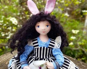 Teatime Alice - An OOAK Cloth Bunny Girl