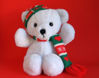 Vintage Christmas Teddy Bear by Dakin Cuddles stuffed animal 1970s Toys with scarf and hat Classic Teddy Bear White Red Green