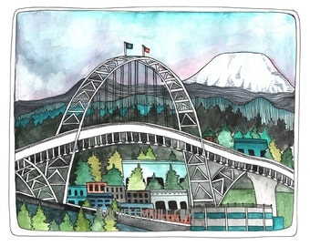 Portland Art Print - 405 Bridge Art - Portland Illustration - Portland Watercolor Print - 405 Bridge Art - Print of Painting - 405 Bridge
