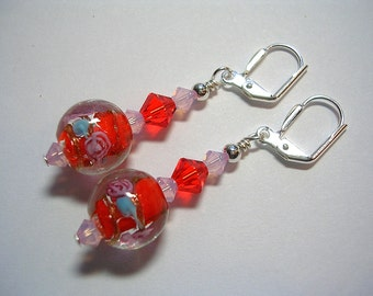 Orange Pink Earrings Lampwork Earrings Swarovski Crystal Silver Leverback Hooks Wire Wrapped Dangle Hyacinth and Blue Gifts under 5