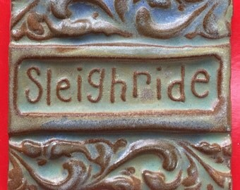 SALE!! Sleighride handmade earthenware tile by tilesmile