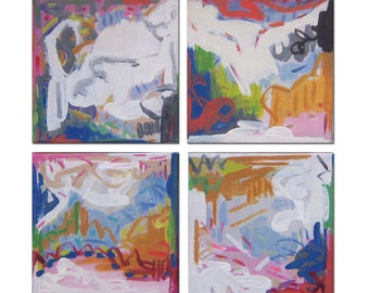ORIGINAL Abstract QUADRIPTYCH Painting / Four Part Abstract  Modern Contemporary Art Raw Landscape  #1440