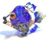 Cobalt blue glass fish necklace, Transparent lampwork Glass Bead, handmade animal pendant, focal bead, ocean bead, designer jewelry supplies