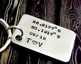 personalized keychain, gift for men, mens keychain, gps keychain, anniversary gift for men, gift for boyfriend