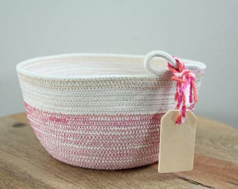 Basket rope coil pink metallic gold thread stripe bin storage organizer bowl wooden tag by PETUNIAS