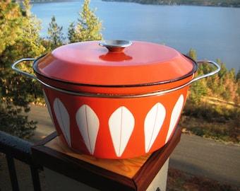 Rare Mid Century Orange 10 Quart Catherine Holm Dutch Oven Excellent