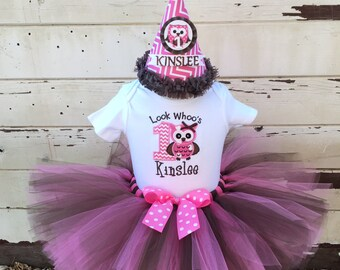 Look Whoo's 1 Birthday Tutu Outfit in Pink & Brown- Personalized Baby Girl- Owl Themed