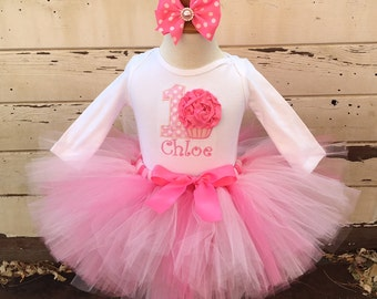 Pretty in Pink 1st Birthday Tutu Outfit- Cupcake Themed- Personalized Baby Girl