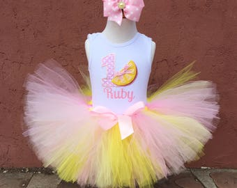 Pink Lemonade 1st Birthday Tutu Outfit- Personalized Baby Girl