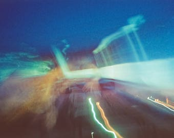 sunset drive-in (two): surreal photography. dreamy abstract art. summer night sky photography. midnight blue decor. multiple exposure photo.