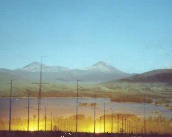 sundown roadside: golden sunset photography. mountain landscape turquoise wall art. surreal multiple exposure photograph. rustic home decor.